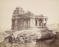 View from the south-east of the Malegitti Shivalaya Temple, Badami